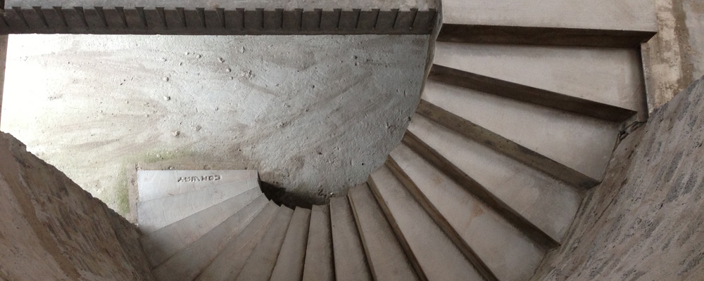 Curved concrete stairs, curved stairs, curved handrails